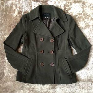 Nine West green wool blend pea coat - size 10
